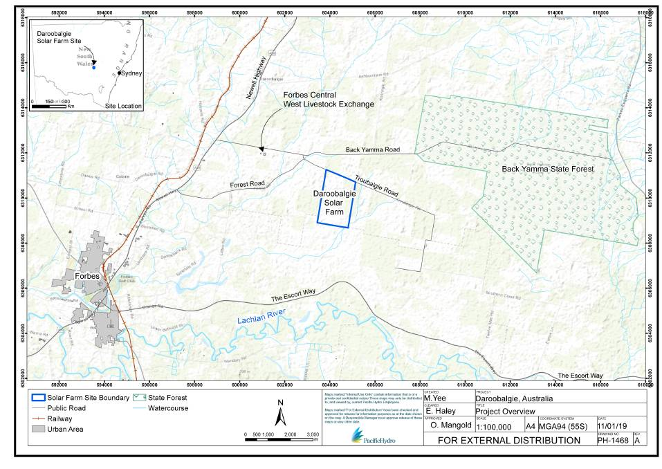 Location map for the proposed Daroobalgie solar farm from Pacific Hydro's website www.pacifichydro.com.au
