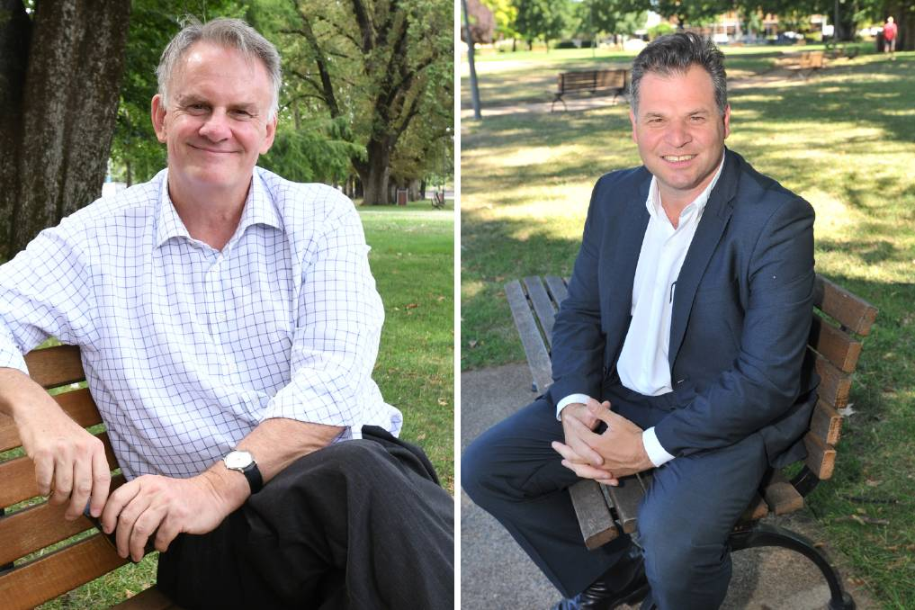 Mark Latham (left), NSW leader of Pauline Hanson's One Nation party and the Shooters and Fishers Phil Donato State Member for Orange. One Nation has agreed not to run candidates in Orange, Barwon and Murray to give the SFF its best chance at winning lower house seats.