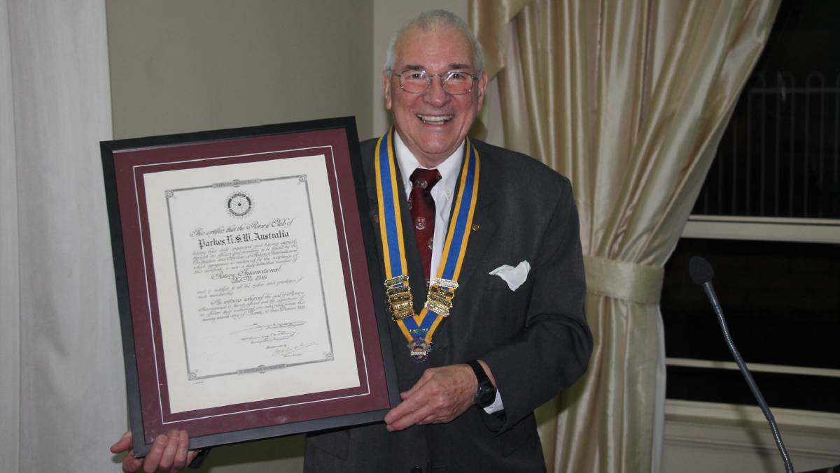 HUGE HONOUR FOR FAMILY: In 2019 Donald Chisholm was appointed Parkes Rotary Club president at the annual Changeover dinner. He has now been named in the Australia Day honours list. Photo: Supplied.