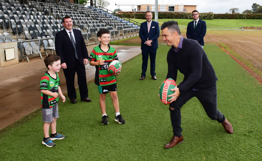 GAME ON: MP Dugald Saunders, Mayor Ben Shields, Rabbitohs CEO Blake Solly and ex NRL player Joe Williams with Lawson and Spencer Marchant. Photo: Belinda Soole.