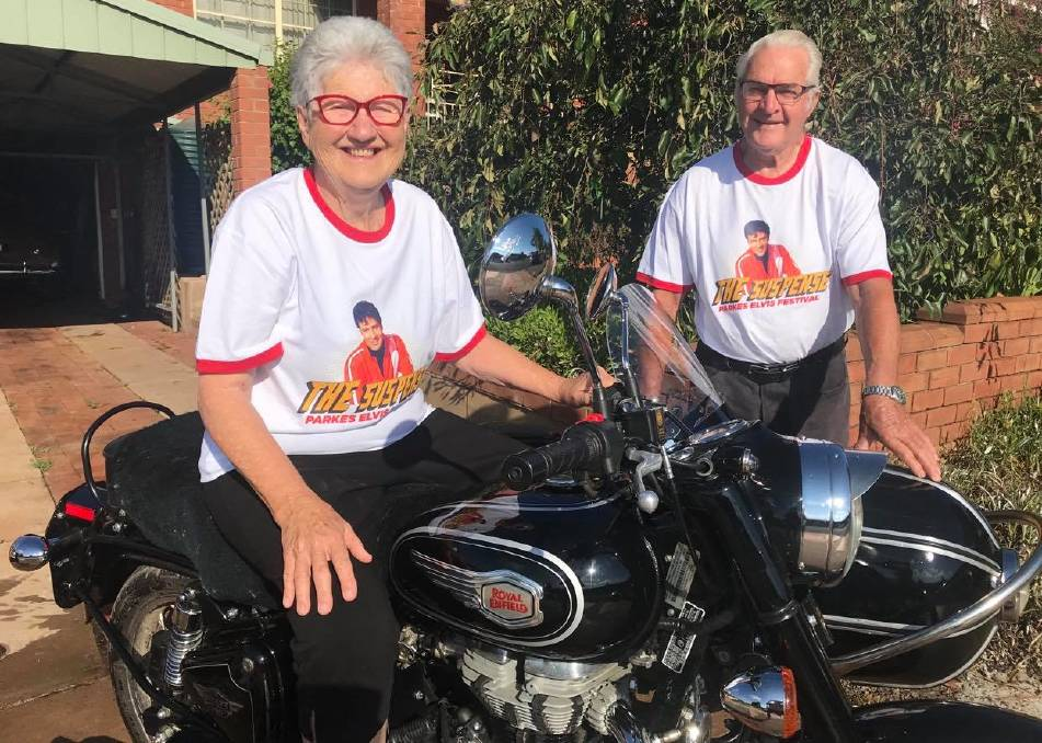 RETRO: Parkes Elvis Festival founders Anne and Bob Steel are sporting the new festival retro-style t-shirts that are now available. People are being encouraged to wear them this weekend. Photo: Parkes Elvis Festival