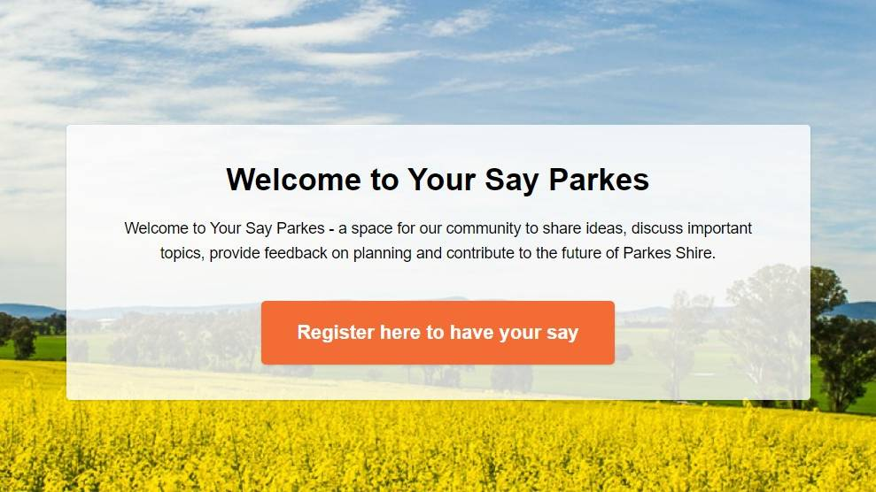 HUB: The 'Your Say Parkes' online hub home page.